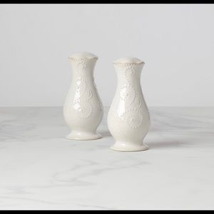 Lenox French Perle White Salt and Pepper Shakers